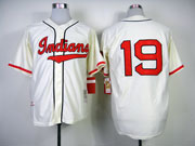 Mens mlb cleveland indians #19 feller cream 1948 throwbacks (no name) Jersey