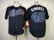 Mens Mlb Atlanta Braves #46 Kimbrel Dark Blue Cool Base Jersey
