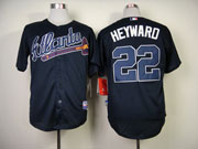 Mens Mlb Atlanta Braves #22 Heyward Dark Blue Cool Base Jersey