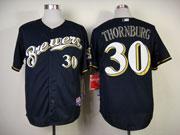 Mens Mlb Milwaukee Brewers #30 Thornburg Blue (cool Base) Jersey