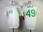 Mens mlb chicago white sox #49 sale white (green number) Jersey