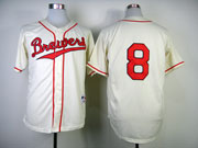 Mens Mlb Milwaukee Brewers #8 Braun 1948 Cream Turn Back Jersey(no Name Red Number)