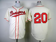 Mens Mlb Milwaukee Brewers #20 Lucroy 1948 Cream Turn Back Jersey(no Name Red Number)