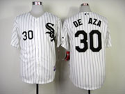 Mens mlb chicago white sox #30 de aza white (black stripe black name) Jersey