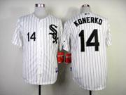 Mens mlb chicago white sox #14 konerko white (black stripe black name) Jersey
