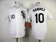 Mens mlb chicago white sox #10 ramirez white (black stripe black name) Jersey