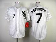 Mens mlb chicago white sox #7 keppinger white (black stripe black name) Jersey