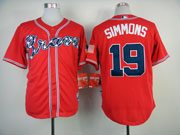 Mens Mlb Atlanta Braves #19 Simmons Red (2014 New) Jersey ( Cool Base)