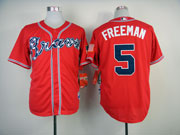 Mens Mlb Atlanta Braves #5 Freeman Red(2014 New) Jersey ( Cool Base)