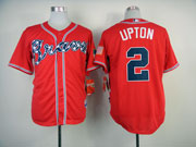 Mens Mlb Atlanta Braves #2 Upton Red(2014 New) Jersey( Cool Base)