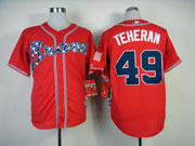Mens Mlb Atlanta Braves #49 Teheran Red(2014 Vew) Jersey( Cool Base)