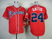 Mens Mlb Atlanta Braves #24 Gattis Red(2014 New) Jersey(cool Base)