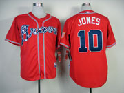 Mens Mlb Atlanta Braves #10 Jones Red(2014 New) Jersey(cool Base)