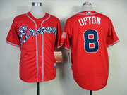 Mens Mlb Atlanta Braves #8 Upton Red(2014 New) Jersey(cool Base)