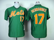 Mens mlb new york mets #17 hernandez green 1985 throwbacks Jersey