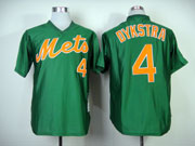 Mens mlb new york mets #4 dykstra green 1985 throwbacks Jersey