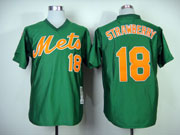 Mens mlb new york mets #18 strawberry green 1985 throwbacks Jersey