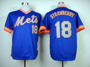 Mens mlb new york mets #18 strawberry blue 1983 throwbacks Jersey