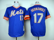 Mens mlb new york mets #17 hernandez blue 1983 throwbacks Jersey