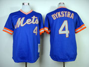 Mens mlb new york mets #4 dykstra blue 1983 throwbacks Jersey