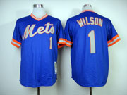 Mens mlb new york mets #1 wilson blue 1983 throwbacks Jersey