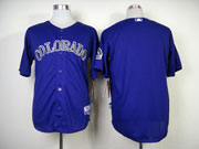 Mens mlb colorado rockies blank purple Jersey