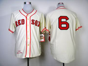 mens mlb boston red sox #6 pesky cream 1946 throwbacks Jersey(no name)