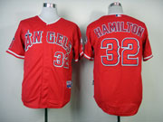 Mens mlb los angeles angels #32 hamilton red Jersey