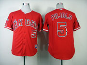 Mens mlb los angeles angels #5 pujols red Jersey