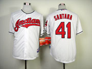 Mens Mlb Cleveland Indians #41 Santana White Cool Base Jersey