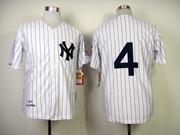 mens mlb new york yankees #4 lou gehrig white 1939 throwbacks Jersey(no name)