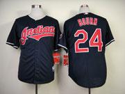Mens Mlb Cleveland Indians #24 Bourn Dark Blue Jersey