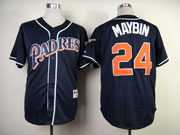 Mens mlb san diego padres #24 maybin blue (red name) Jersey