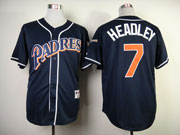 Mens mlb san diego padres #7 headley blue (red name) Jersey