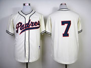 Mens mlb san diego padres #7 headley cream (no name) Jersey