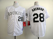 Mens Mlb Colorado Rockies #28 Arenado White ( Purple Stripe ) Jersey
