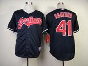 Mens Mlb Cleveland Indians #41 Santana Blue Cool Base Jersey