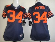 women  nfl Chicago Bears #34 Walter Payton blue (orange number) game jersey