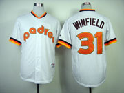 Mens mlb san diego padres #31 winfield white 1984 turn back Jersey