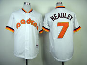 Mens mlb san diego padres #7 headley white 1984 turn back Jersey