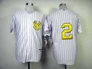 mens mlb new york yankees #2 jeter white (no name) Jersey (golden digit)