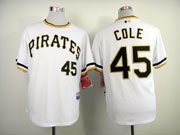 Mens Mlb Pittsburgh Pirates #45 Cole White Pullover Jersey