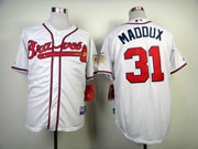 Mens Mlb Atlanta Braves #31 Maddux White(75 Year Patch) Jersey
