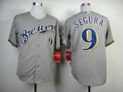 Mens Mlb Milwaukee Brewers #9 Segura Gray Jersey