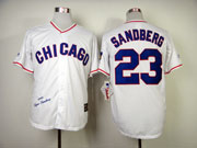 Mens Mlb Chicago Cubs #23 Sandberg Full White 1988 Throwbacks Jersey