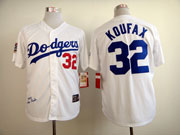 Mens mlb los angeles dodgers #32 koufaxn white 1958 world series majestic Jersey