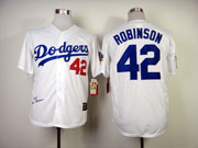 Mens mlb los angeles dodgers #42 robinson white 1955 hall of fame Jersey