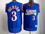 Mens Nba Philadelphia 76ers #3 Allen Iverson Blue Swingman Jersey(mesh)