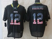 mens nfl Green Bay Packers #12 Aaron Rodgers black (2014 usa flag fashion) elite jersey