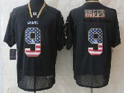 mens nfl New Orleans Saints #9 Drew Brees black (2014 usa flag fashion) elite jersey